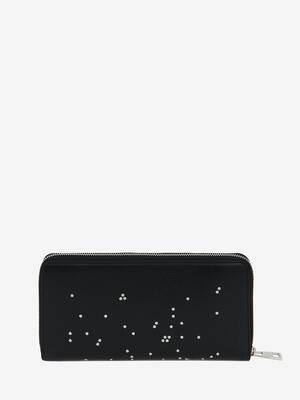Studded Leather Folded Long Wallet