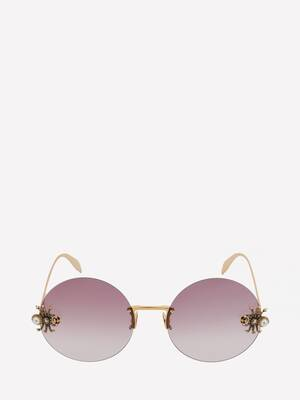 Spider Jewelled Round Sunglasses