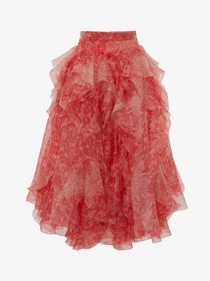 Sea Coral Organza Midi Skirt