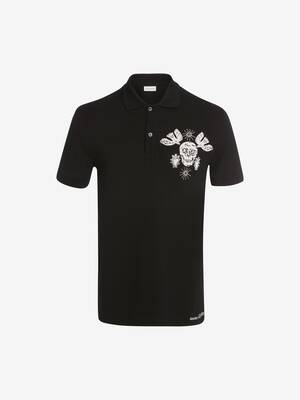 Papercut Skull Embroidered Polo Shirt