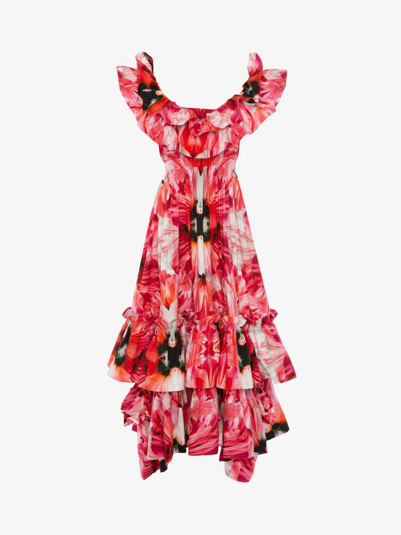 Display a large version of the product image 1 - Exotic Floral Ruffle Evening Dress