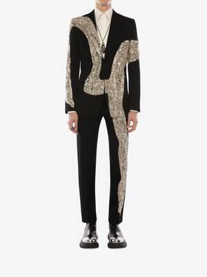 Pantaloni a sigaretta con ricamo effetto metallo fuso