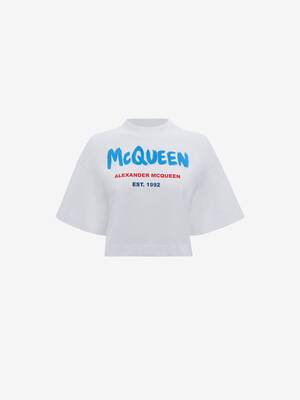 McQueen Graffiti Cropped T-Shirt
