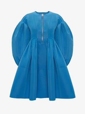 Robe courte en polyfaille à manches cocon