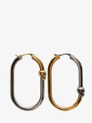Bi-Color Skull Hoop Earrings