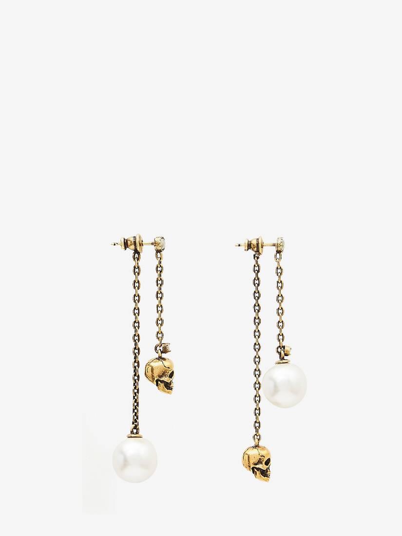 Boucle d'oreille à chaîne Skull en forme de perle