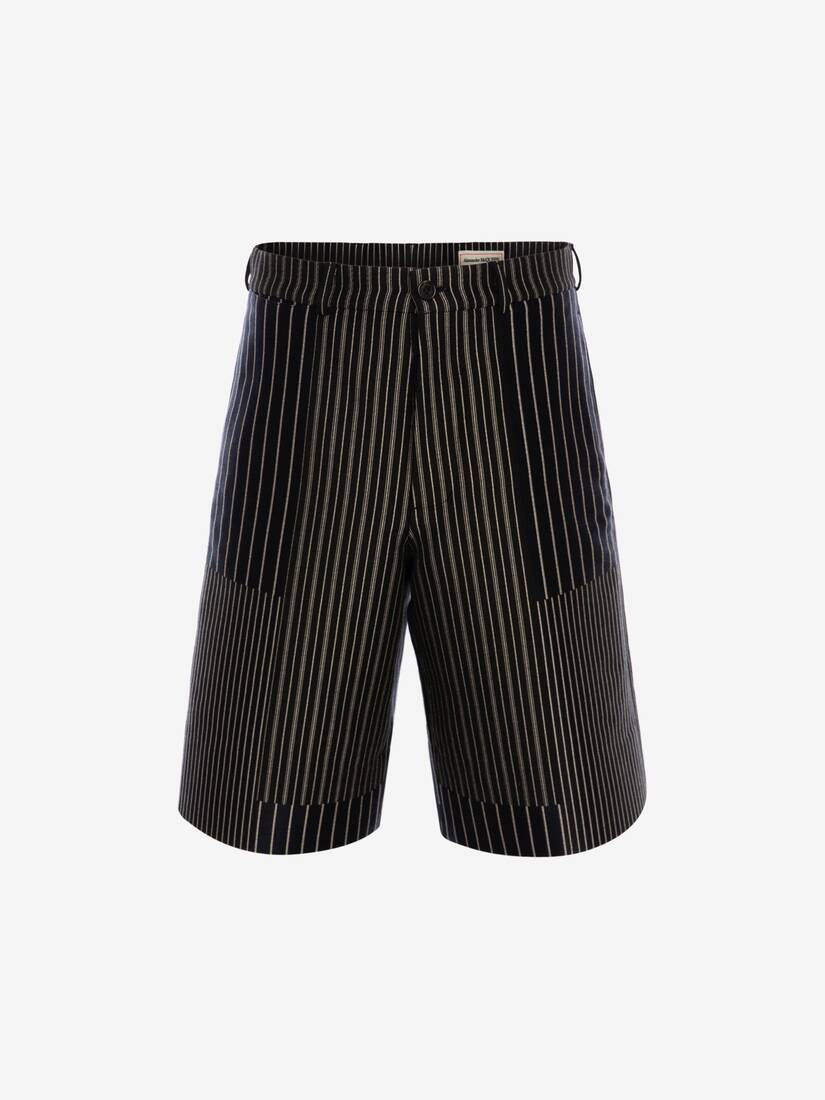 Display a large version of the product image 1 - Patchwork Pinstripe Shorts