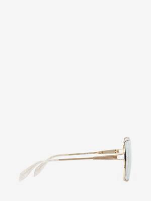 Metal Sculpted Square Sunglasses