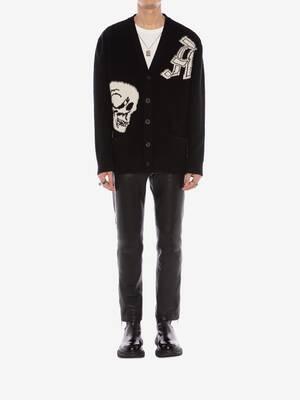 Gothic Skull Intarsia Knit Cardigan