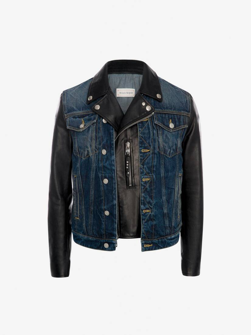 Display a large version of the product image 1 - Hybrid Denim Biker Jacket