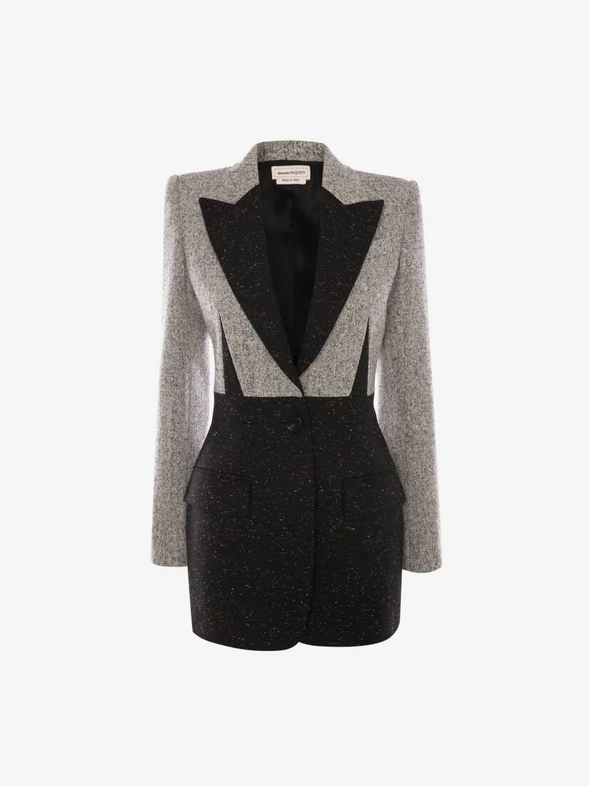 Veste bicolore en tweed Donegal