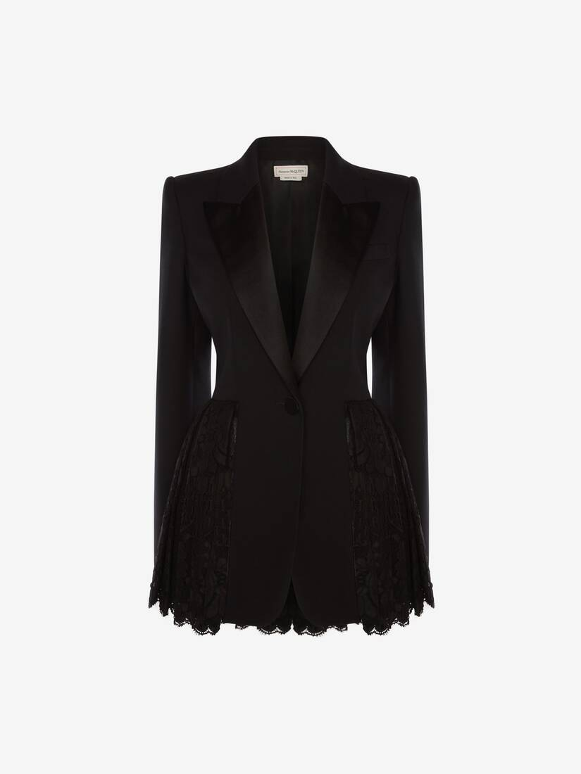 Light Wool Silk Lace Peplum Jacket