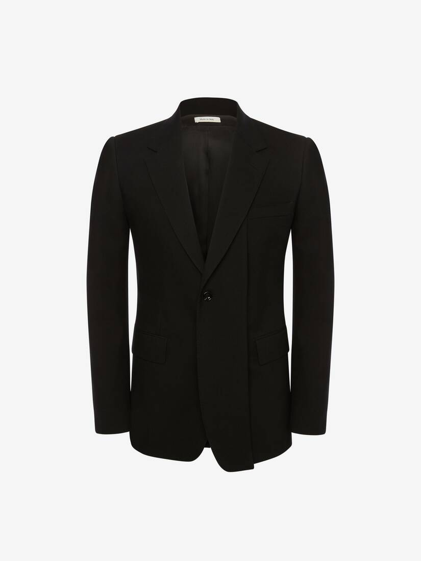 Slashed Lapels Wool Gabardine Jacket