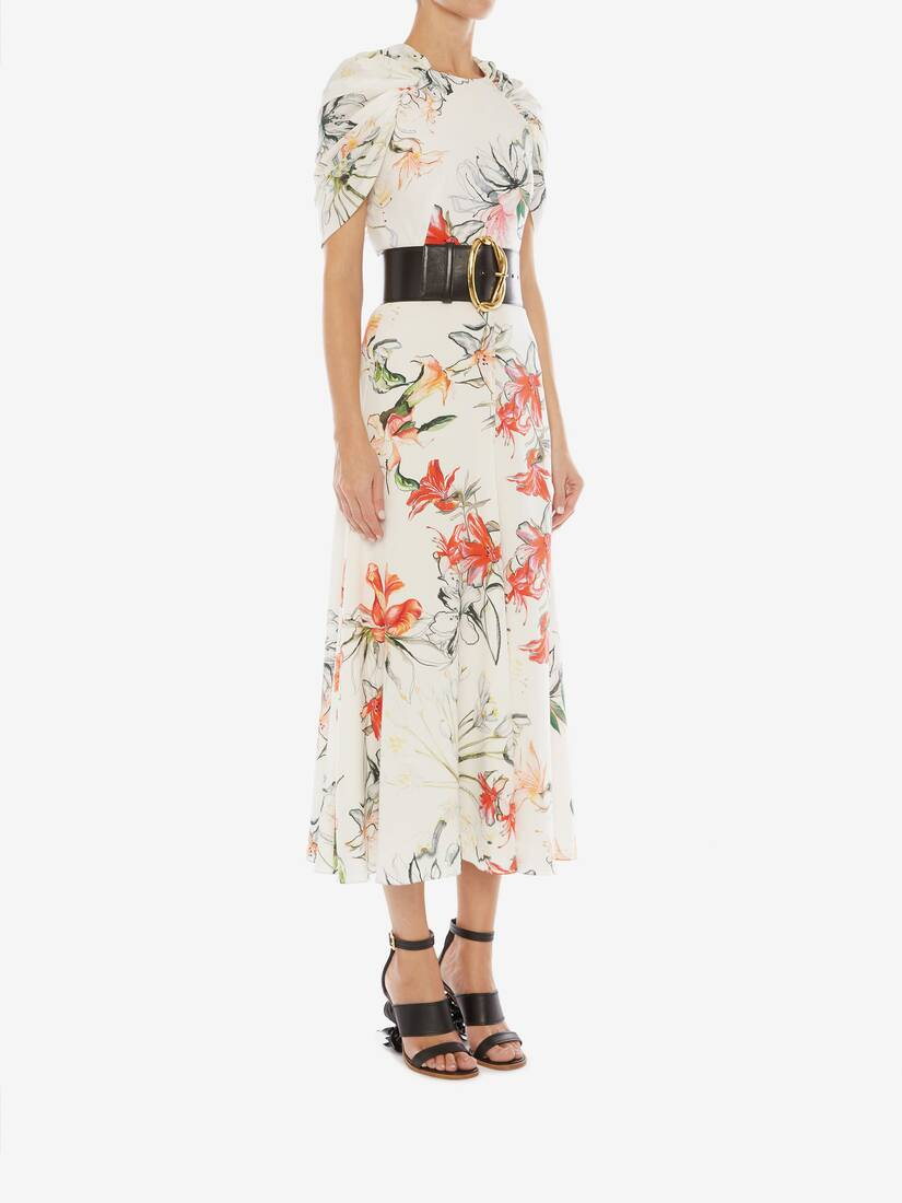 Display a large version of the product image 3 - Endangered Flower Cape Sleeve Midi Dress