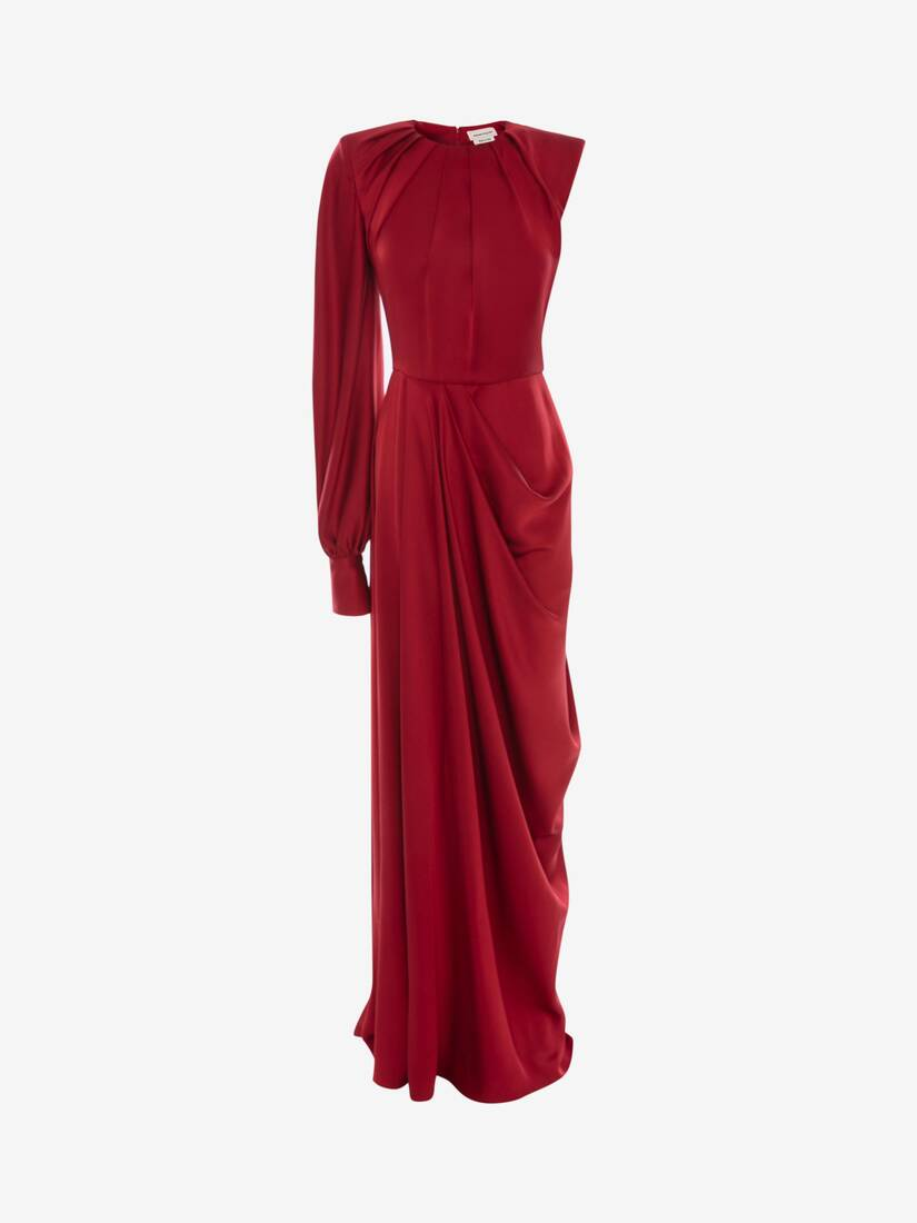 Display a large version of the product image 1 - One-Sleeve Satin Evening Dress
