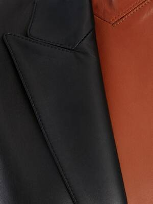 Bi-Color Leather Coat
