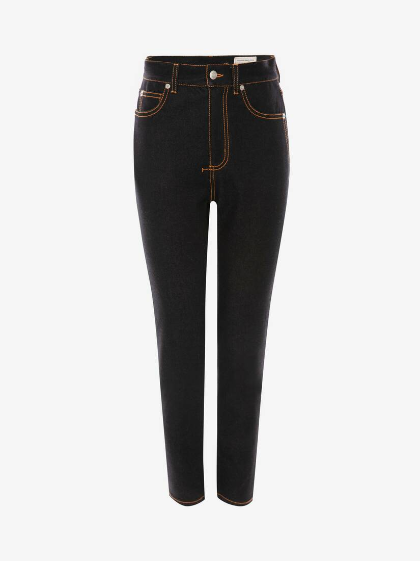 Display a large version of the product image 1 - High Waisted Denim Trouser