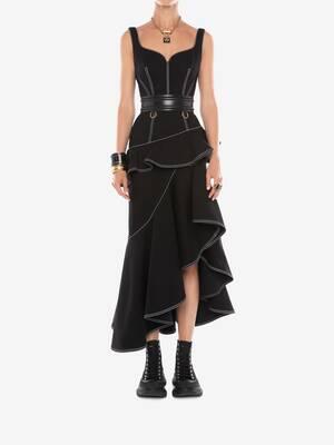 Peplum Denim Midi Dress