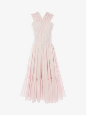 Cotton Poplin Halterneck Midi Dress