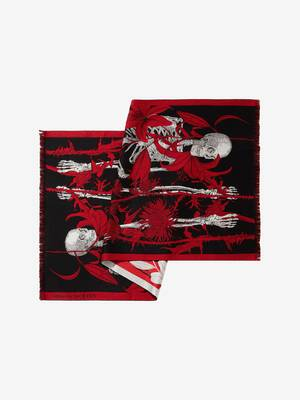 Floral Silhouette Skeleton Scarf