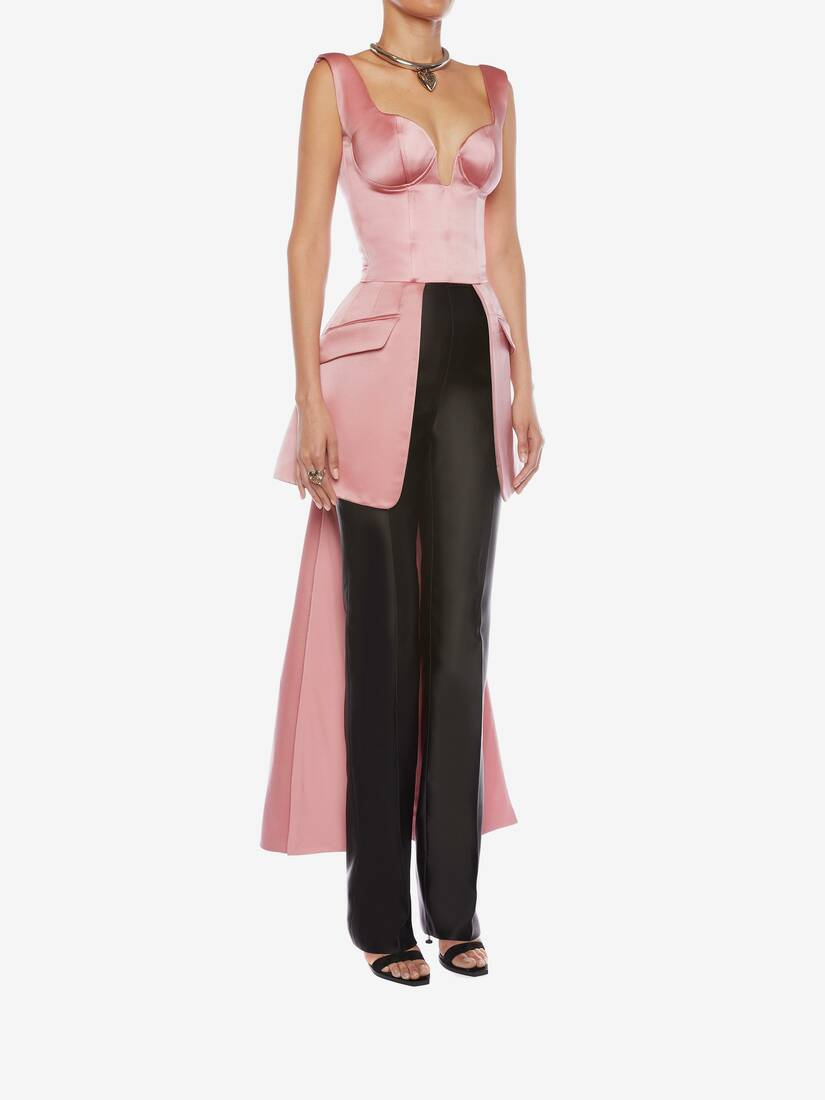 Display a large version of the product image 3 - Light Wool Silk High Waisted Tuxedo Pants
