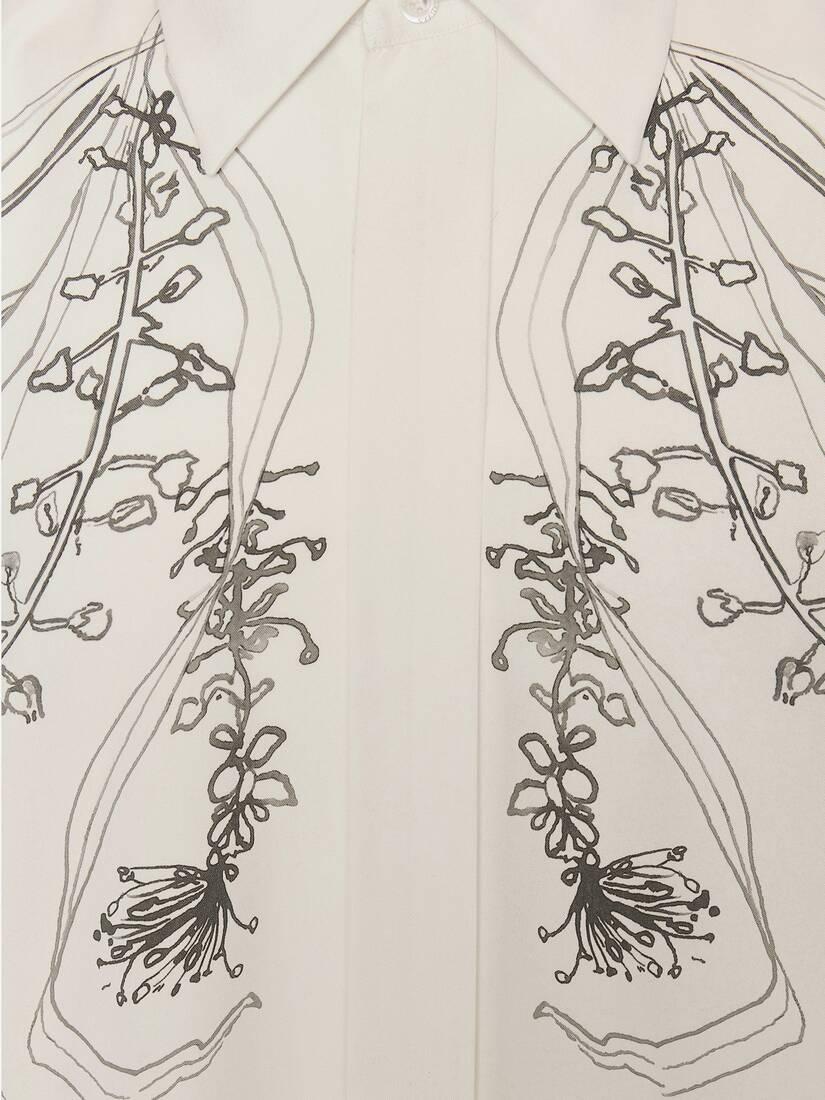 Meadow Print Dropped Shoulder Silk Shirt