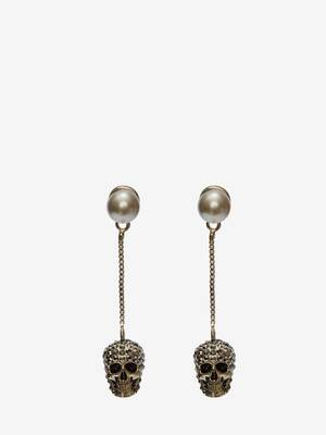 Pave Skull Chain Earrings