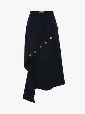 Button Fluted Midi Skirt