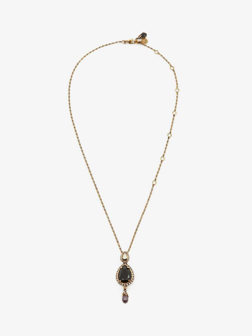 Display a large version of the product image 1 - Long Necklace with Jewelled Droplet Pendant