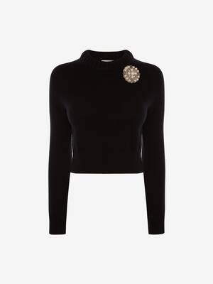 Embroidered Cropped Cashmere Jumper