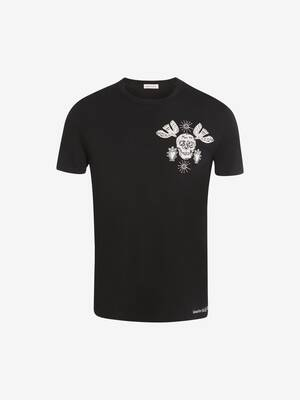 Papercut Skull Embroidered T-Shirt