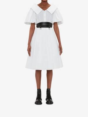Open Neck Poplin Midi Dress