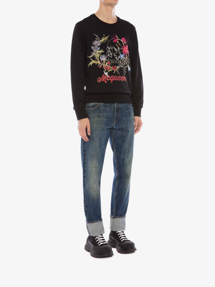Display a large version of the product image 3 - Deconstructed Floral Skull Sweatshirt