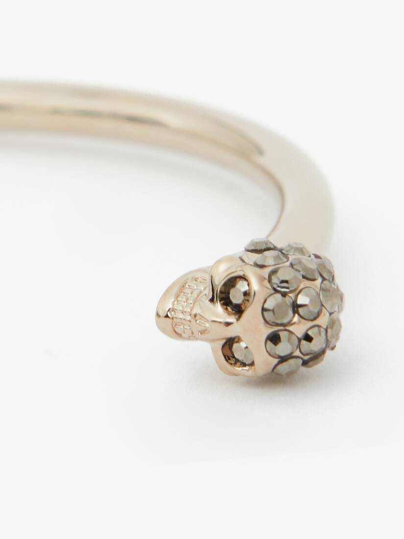 Display a large version of the product image 3 - Thin Jewelled Twin skull bracelet