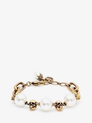 Pearl-like Skull Chain Bracelet
