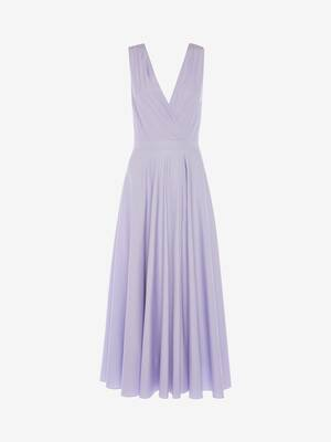 Cotton Poplin Drape Midi Dress