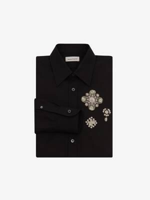 Chemise à patchs brodés en perles