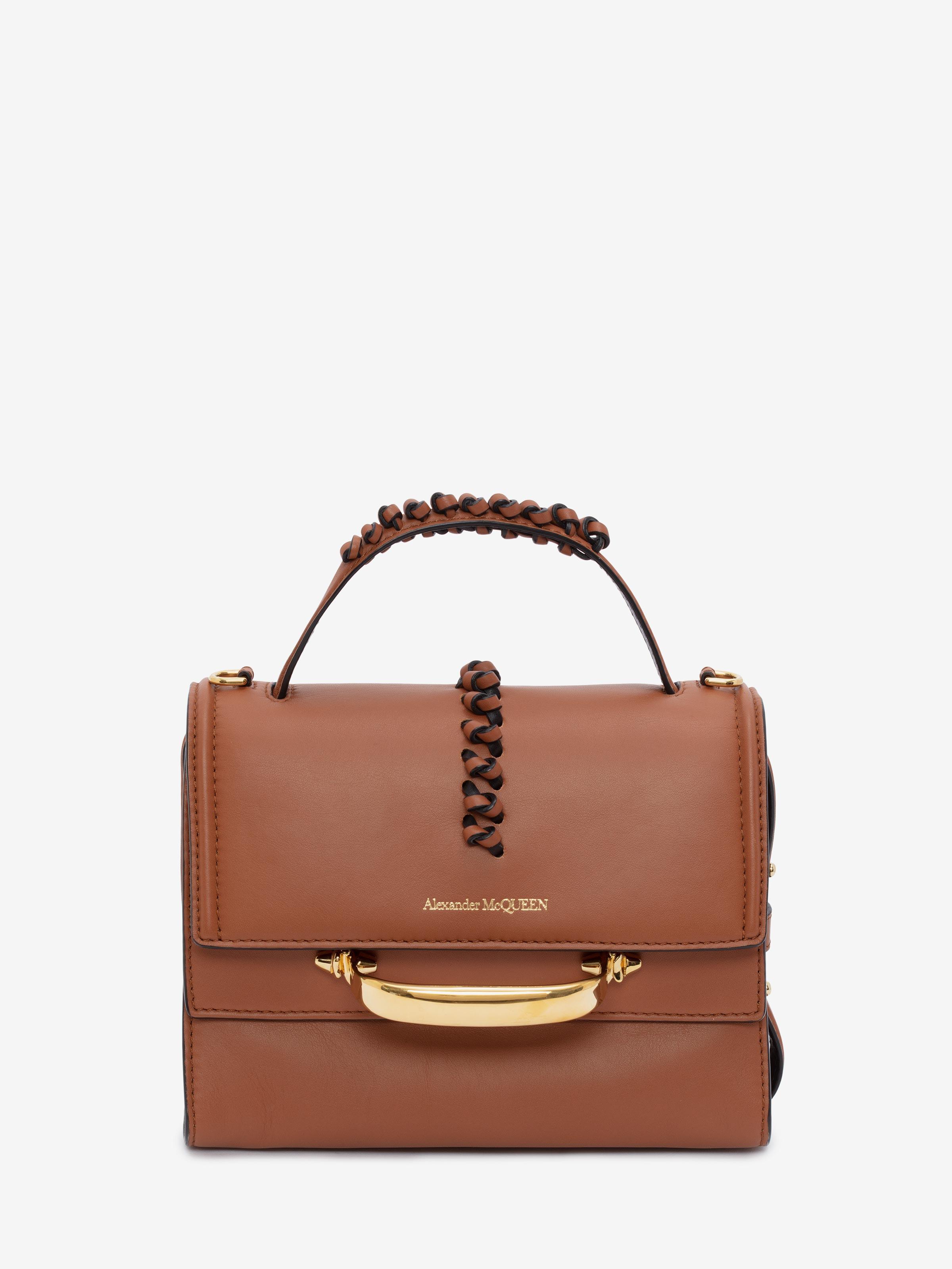 Alexander Mcqueen Women Handbag The Stroy Calfskin Logo Brown In Tan