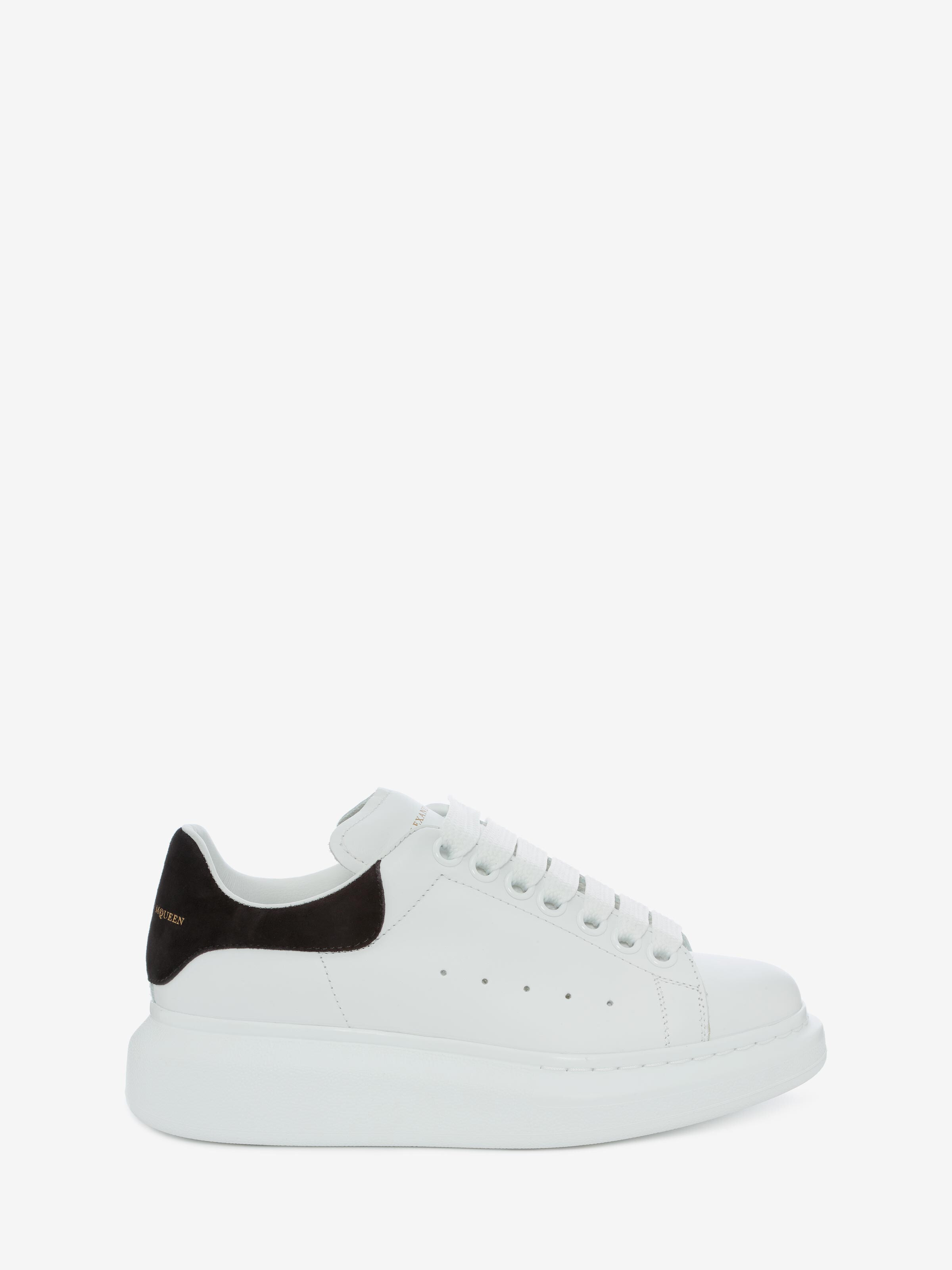 Alexander Mcqueen Low-top Sneakers Larry Calfskin Logo Black White In Ivory/black