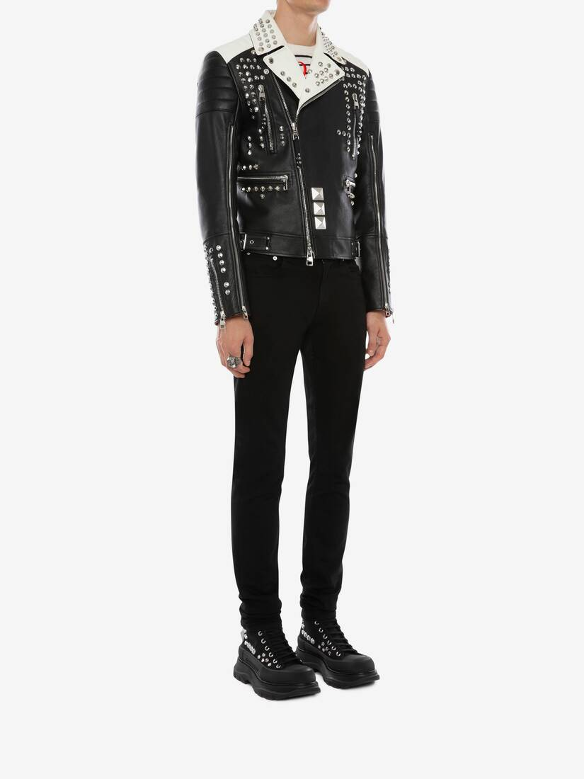 Display a large version of the product image 4 - Studded Leather Biker Jacket