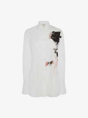 Camicia in Popeline con Stampa Rosa