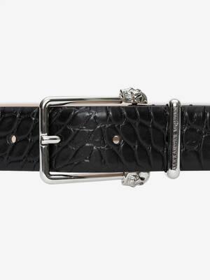 Twin Skull Leather Belt
