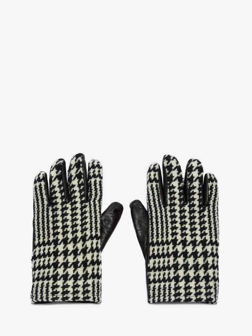 Houndstooth Leather Gloves