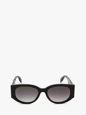 McQueen Graffiti Oval Sunglasses