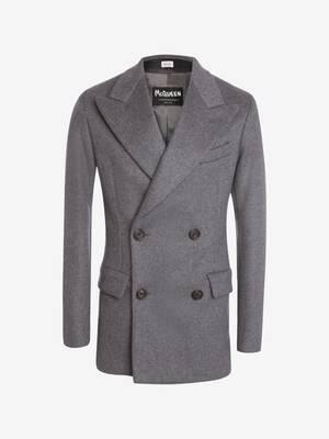 Veste cintrée à double boutonnage en feutre de laine