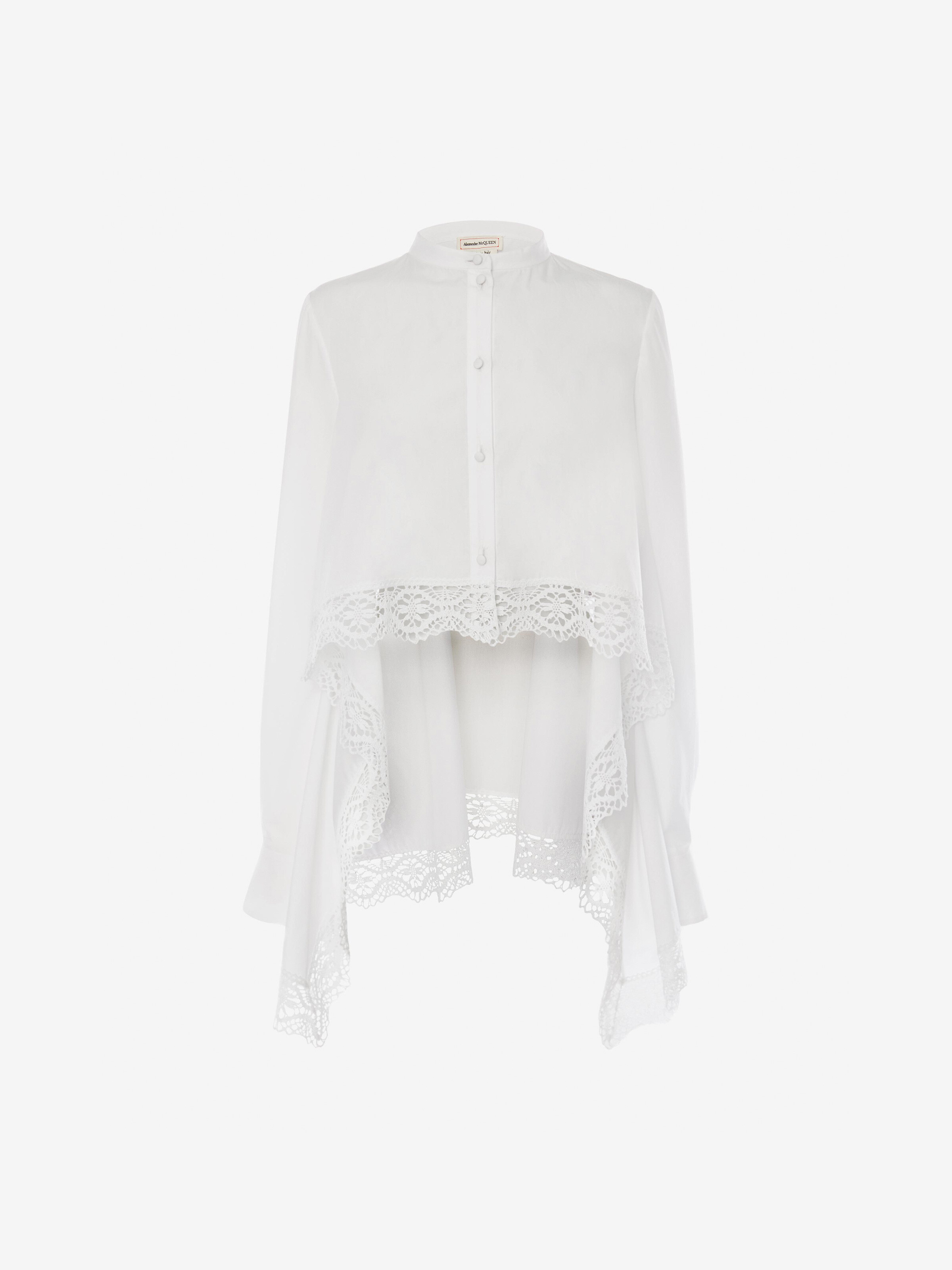 Alexander Mcqueen White Lace-trimmed Cotton-poplin Shirt In Optical White