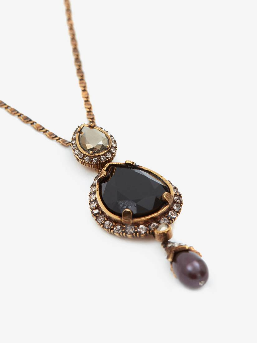 Long Necklace with Jewelled Droplet Pendant