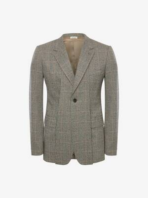 Slashed Lapels Distressed Prince of Wales Jacket