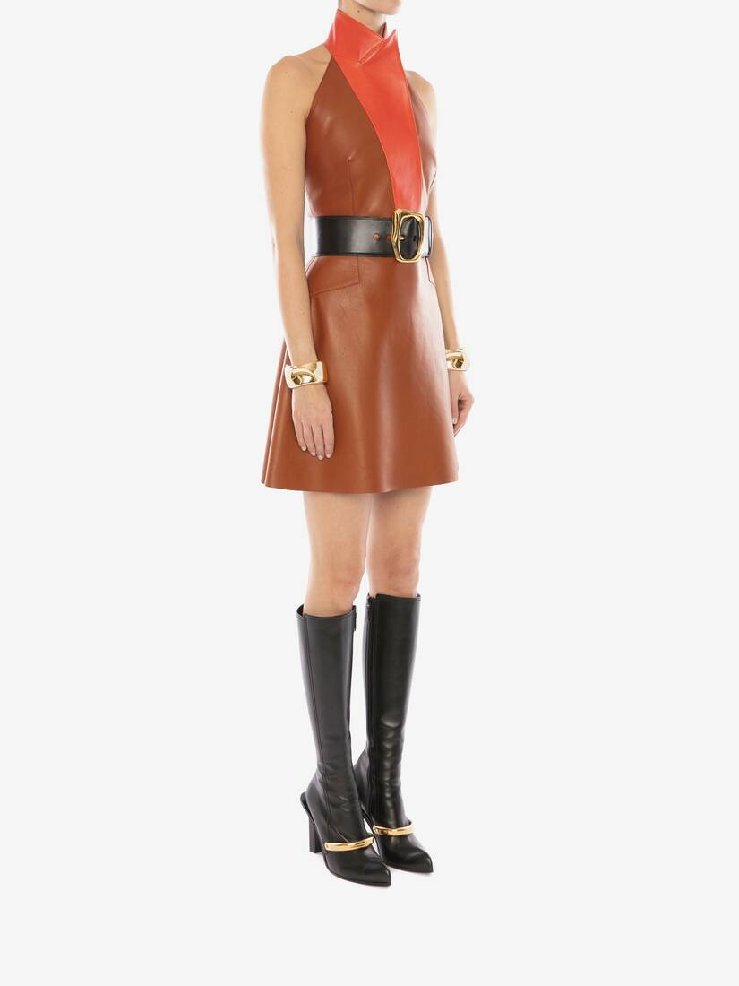 Display a large version of the product image 3 - Halterneck Leather Mini Dress