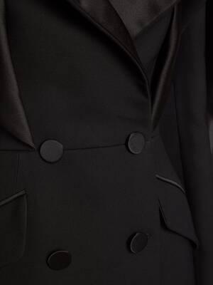 Heart Sleeve Tuxedo Tailored Dress